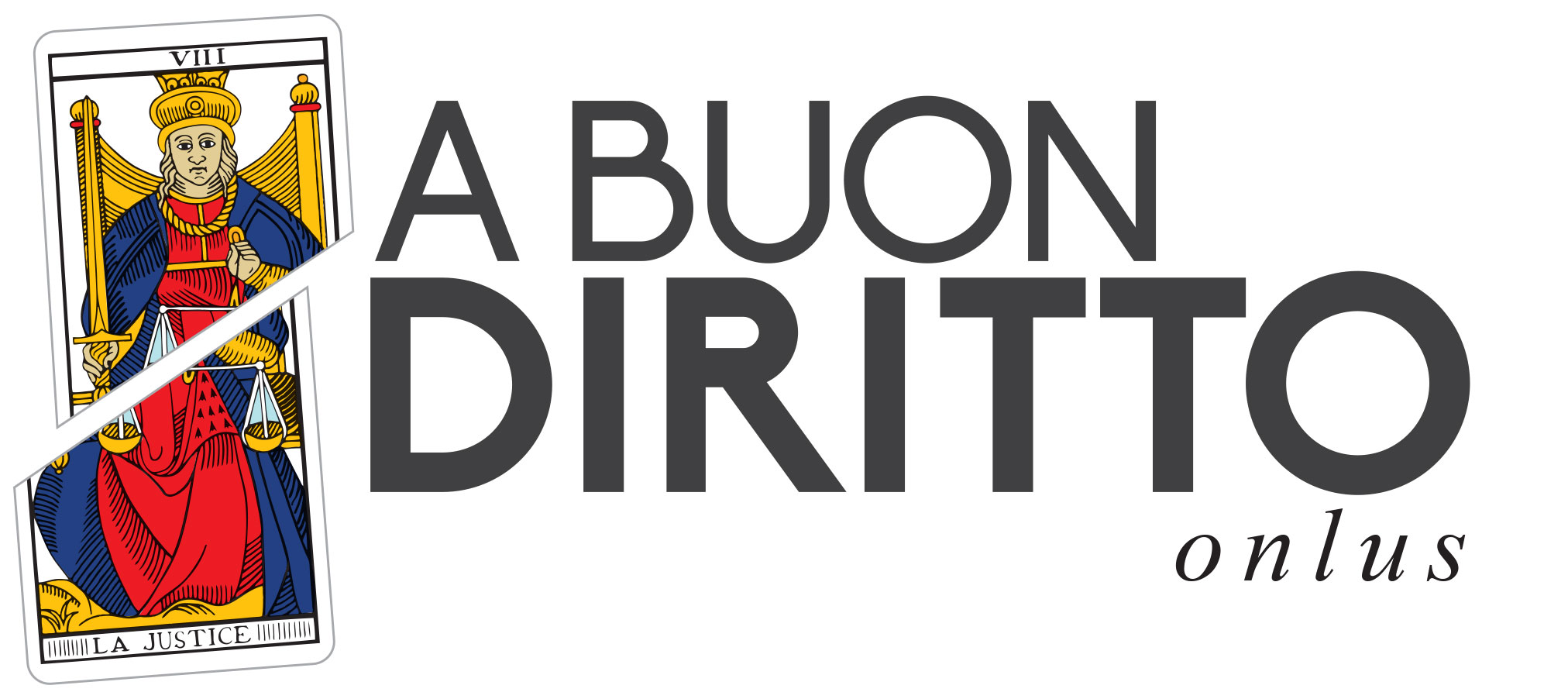 A Buon Diritto Onlus logo represents a sample of MarsellaiseTaroc chi Card, namely the Justice Card, since A Buon Diritto was founded with the aim to denunce the violations of the fundamental rights, as the card is cutted in the middle, to raise awarness on fundamental rights and social justice through advocacy activities and strategic litgation.